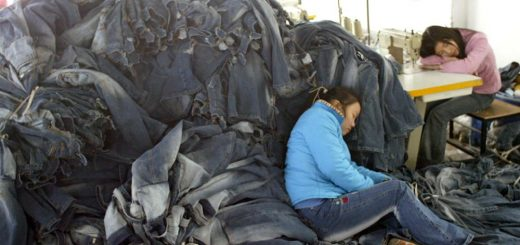 CHINA BLUE, The round-the-clock schedule causes Jasmine (17, blue jacket) to fall asleep on her work pile, 2005